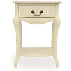 more details on Juliette 1 Drawer Bedside Table - Cream.