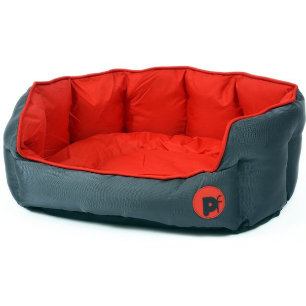 Petface Dog Bed Medium Red Oxford Oval