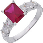 more details on Sterling Silver Ruby Cubic Zirconia Solitaire Ring.