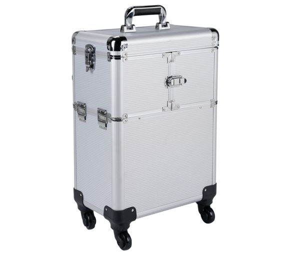 Buy Pretty Pink Large Silver Trolley Vanity Case At Argos
