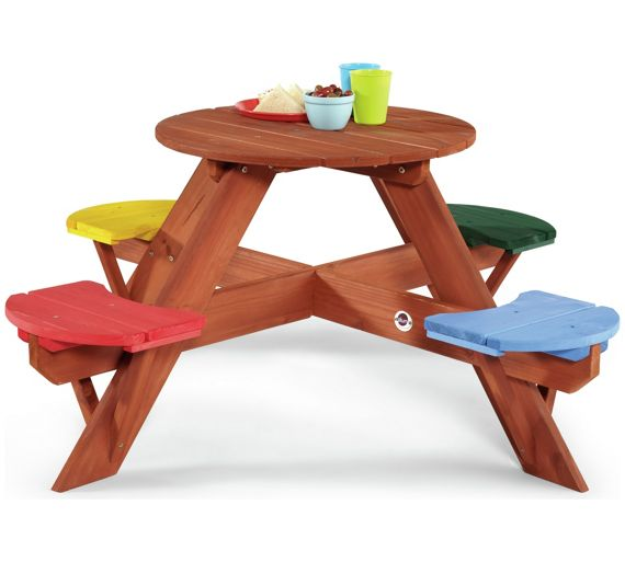 Buy Plum Children 39 S Garden Picnic Table With Coloured Seats At