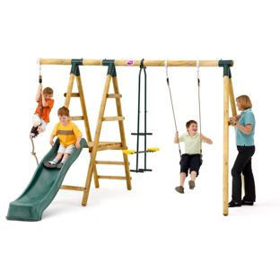 Plum Wooden Garden Swing Set