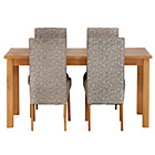 more details on HOME Lincoln Oak Effect 150cm Dining Table - 4 Floral Chairs