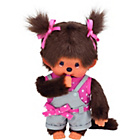 more details on Bandai Monchhichi Girl Plush Doll with Dungarees and T-Shirt