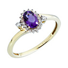 more details on 9ct Gold 0.10ct Diamond Amethyst Cluster Ring.