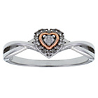 more details on Silver and 9ct Rose Gold Plated Diamond Heart Ring.
