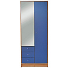 more details on New Malibu 2 Door 3 Drw Mirrored Wardrobe - Blue on Pine.