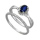 more details on 9ct White Gold 0.25ct Diamond & Sapphire Bridal Ring Set.