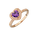 more details on 9ct Rose Gold Plated Sterling Silver Amethyst Heart Ring.