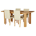 more details on Shenley Oak Veneer Extendable Table & 4 Cream Chairs.