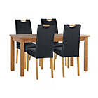more details on Wilden Oak Stain 120cm Table & 4 Black Mid Back Chairs.