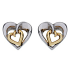 more details on 9ct Gold Plated Silver 2 Tone Heart Stud Earrings.