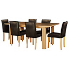 more details on Shenley Wood Effect Extendable Table and 6 Chocolate Chairs.