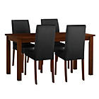 more details on Stanford Walnut Effect 120cm Dining Table and 4 Black Chairs