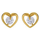 more details on Diamonite 18ct Gold Plated Cubic Zirconia Heart Stud Earring