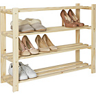 more details on 4-Tier Part-Assembled Shoe Rack - Solid Unfinished Pine.