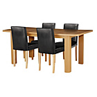 more details on Shenley Wood Effect Extendable Table and 4 Black Chairs.