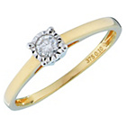 more details on Miracle Sparkle 9ct Gold Illusion Set 0.10ct Solitaire Ring