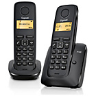 more details on Gigaset A120 X2 Cordless Telephone TAM - Black.