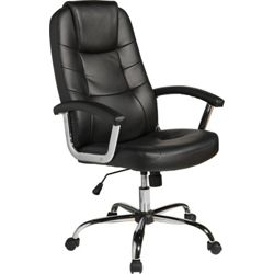 Chicago Leather Effect Height Adjustable Office Chair - Black