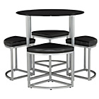 more details on Tokyo Glass Round Space Saver Dining Table and 4 Stools.