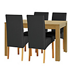 more details on Elmwood Oak Effect Extendable Table and 4 Black Chairs.