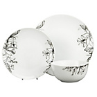 more details on 12 Piece Porcelain Floral Dinner Set - Black and White.