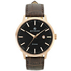 more details on Accurist Mens Rose Gold Plated Brown Strap Watch