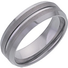 more details on Men's Tungsten 7mm Matt and Polished Grooved Band Ring.