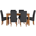 more details on Jackson Oak Stain 150cm Dining Table and 6 Black Chairs.