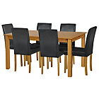 more details on Ashdon Oak Stain 150cm Table & 6 Black Mid Back Chairs.