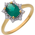 more details on 9ct Gold Plated Sterling Silver Green &White CZ Cluster Ring