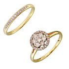 more details on 9ct Gold 0.50ct Diamond Flower Cluster Bridal Ring Set