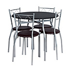 more details on Perth Circular Dining Table and 4 Black Chairs.