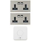 more details on Spark Power Smart Plug 2 Double Power Sockets - S. Steel