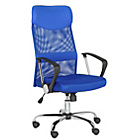 Mesh & Leather Effect Headrest Adjustable Office Chair-Blue