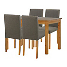 more details on Stanford Oak Effect 120cm Dining Table and 4 Charcoal Chairs