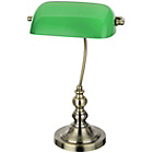 more details on Green Glass and Brass Bankers Lamp.