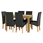 more details on Elmwood Oak Effect Extendable Table and 6 Black Chairs.