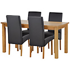 more details on HOME Lincoln Oak Effect 120cm Dining Table - 4 Black Chairs.