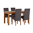more details on Jackson Oak Stain 120cm Dining Table and 4 Chocolate Chairs.