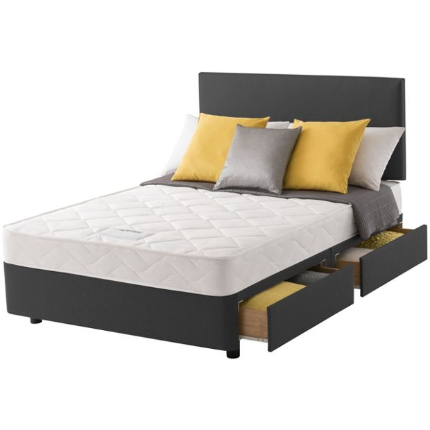 Buy layezee calm micro quilt small double 4 drawer divan for Small double divan bed and mattress