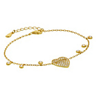 more details on Gold Plated Silver Cubic Zirconia Sliding Heart Bracelet