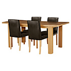 more details on Shenley Wood Effect Extendable Table and 4 Chocolate Chairs.