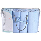 more details on Clair de Lune 4 Piece Bedding Bale to Fit Moses Basket-Blue.