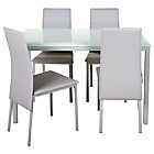 more details on Garcia Glass Dining Table and 4 White Chairs.