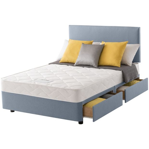 Buy layezee calm micro quilt double 4 drawer divan bed at your online shop for Argos single divan beds