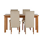 more details on Jackson Oak Stain 120cm Dining Table and 4 Cream Chairs.