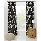 more details on Elissia Poppy Unlined Pencil Pleat Curtains 168x183cm- Black