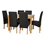 more details on HOME Lincoln Oak Effect 150cm Dining Table - 6 Black Chairs.